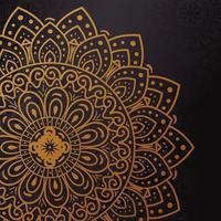 gyllene blommig mandala bakgrund vektor