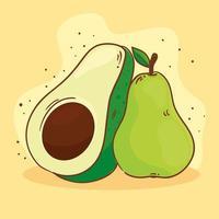 färskt päron och avokado vektor