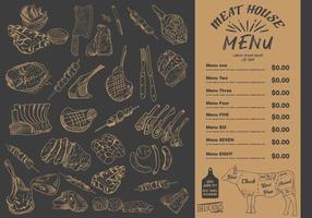 biffmeny för restaurang och café. mat reklamblad. vektor