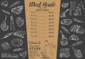 Steakmenü für Restaurant und Café. Essensflieger. vektor