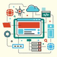 Computerzentrierte Cloud-Engineering-Technologie vektor