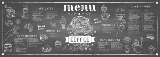 kaffehusmeny. restaurang café meny. vektor