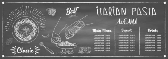 italienische Spaghetti. Design der Speisekarte. vektor