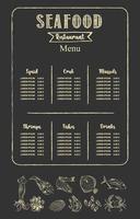 Menüvorlage für Fischrestaurants. Vektor. vektor
