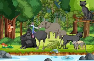 Regenwaldszene mit wilden Tieren