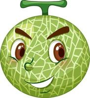 cantaloup melon seriefigur med ansiktsuttryck