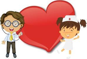 leeres großes Herzfahne mit Krankenschwester und Doktor-Zeichentrickfigur vektor