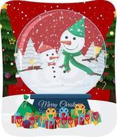 Frohe Weihnachten Schrift mit Weihnachtsmann in Schneeszene vektor