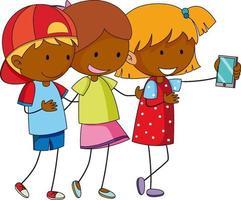 tre flickor seriefiguren tar en selfie i handritad doodle stil isolerad