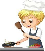 Zeichentrickfigur eines Kochjungen, der Essen kocht vektor