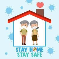 Bleib zu Hause Bleib sicher Schriftart mit älterem Ehepaar vektor