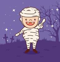 süßer Junge in einem Mumienkostüm für Halloween-Feier vektor