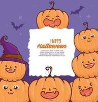 Happy Halloween Banner mit niedlichen Kürbissen und Fledermäusen fliegen vektor