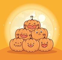 Halloween-Kürbisse auf einem Haufen