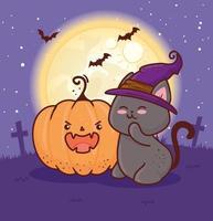 Halloween-Katze mit Hexenhut und Kürbis auf dem Friedhof vektor