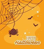 Happy Halloween Schriftzug mit Spinne und Fledermäusen fliegen vektor