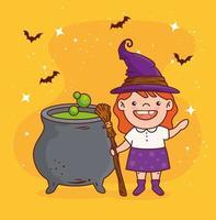 süßes Mädchen in einem Hexenkostüm für Halloween-Feier mit Kessel
