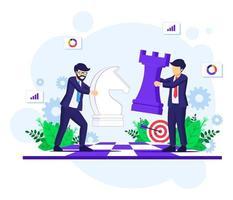 Geschäftsstrategiekonzept mit Geschäftsleuten, die Schachfiguren auf Schachbrett bewegen. Strategie und Taktik in der Geschäftsvektorillustration
