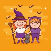 süße Mädchen in Kostümen für Halloween-Feier vektor
