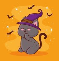 Halloween mit niedlicher Katze, die einen Hexenhut und fliegende Fledermäuse trägt vektor