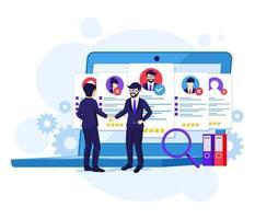 rekryteringskoncept, affärsman och arbetsgivare vektor