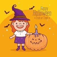 süßes Mädchen in einem Hexenkostüm für glückliches Halloween-Banner vektor
