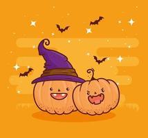 Halloween süße Kürbisse mit Hexenhut und fliegenden Fledermäusen vektor
