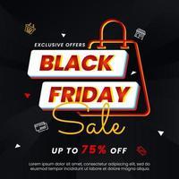 svart fredag banner med ljus neon och väska vektor