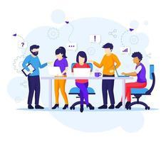 Geschäftsteamwork-Konzept, Leute, die in Tischbesprechung arbeiten vektor