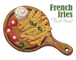 Illustrationen zum Fast-Food-Thema Pommes auf einem Brett vektor