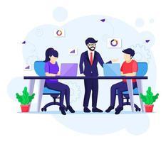 teamwork i co-working space koncept vektor
