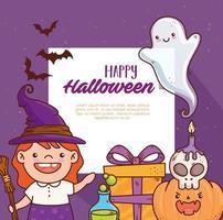süßes Mädchen in einem Hexenkostüm für Halloween-Feierbanner vektor