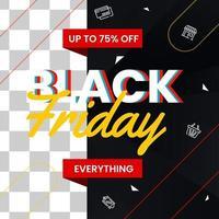 svart fredag stor försäljningsaffisch med foto vektor