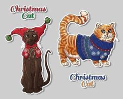 Weihnachten Haustiere in Kleidung gesetzt vektor