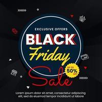 svart fredag banner med cirkel vektor
