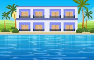 Hotel-Außenpool mit Blick auf Palmen und Hügel vektor