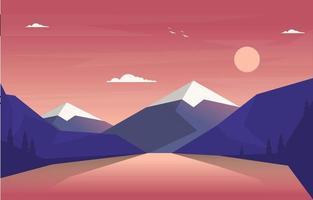 Sonnenaufgang über Bergwaldlandschaftsillustration vektor