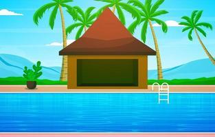 Hotellets utomhuspool med utsikt över palmer och kullar vektor