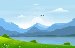 Sommersee mit grüner Feldlandschaftsillustration vektor