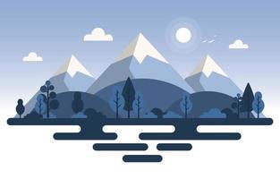 lugn berg skog natur scen illustration vektor