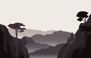 ruhige Bergwaldlandschaftsillustration