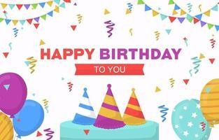 Grattis på födelsedagskort med festballonger och konfetti vektor