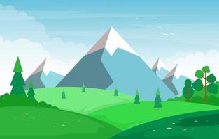 Sommerszene mit Berg- und Grünfeldlandschaftsillustration vektor
