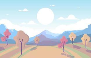 Herbstparkszene mit Bäumen und Bergen vektor