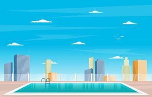 Hotel-Außenpool mit Blick auf die Stadt vektor