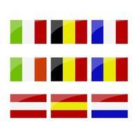 uppsättning europeiska flaggor vektor