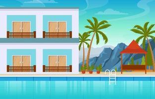 hotell utomhuspool med utsikt över palmer vektor