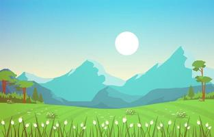 sommaren scen med berg och gröna fält landskap illustration vektor
