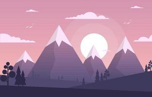 soluppgång över bergskog landskap illustration vektor