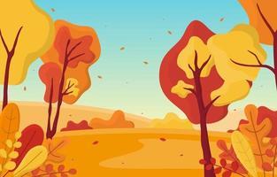 gyllene höst park scen med träd vektor